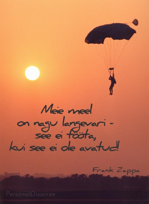 Meie meel on nagu langevari - see ei tööta, kui see ei ole avatud. - Frank Zappa